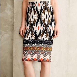 Anthropologie Maeve Tribal Print Pencil Skirt